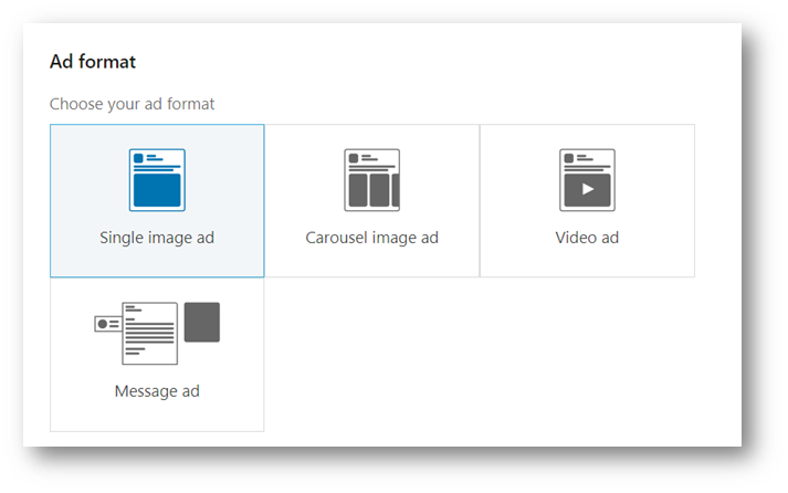 The ad format options shown at this stage will depend on the objective set at the start of the process